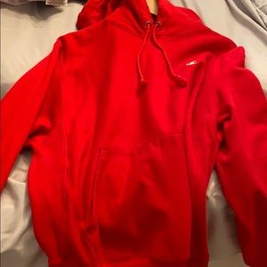 Oversized red champion hoodie